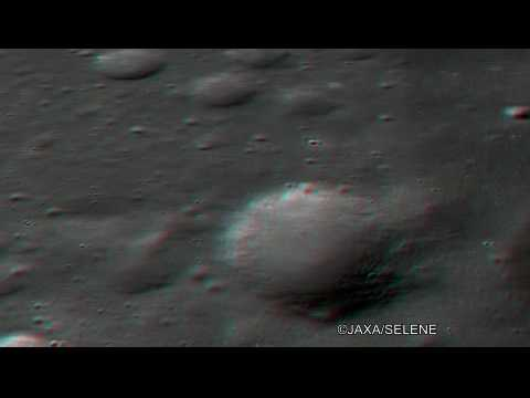 3D Anaglyph image DYSON Crater of the Moon by TC/Kaguya かぐや