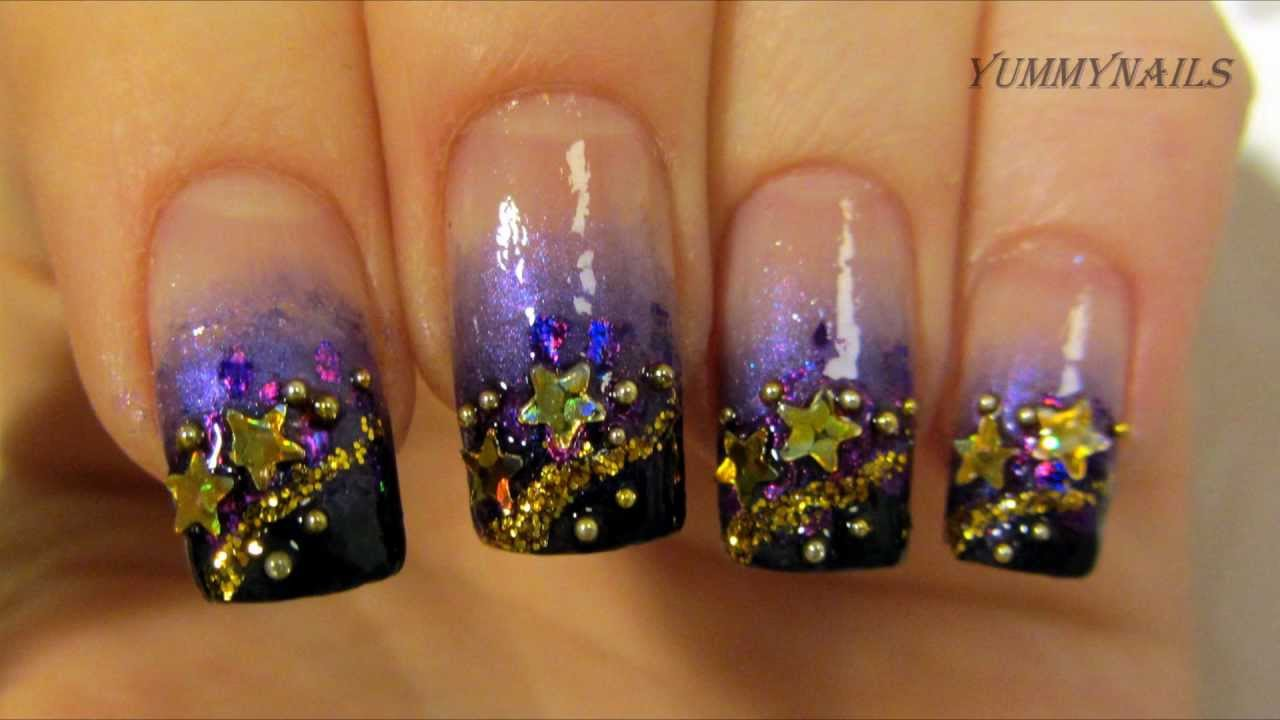 New year 2013 gold purple and black gradient stardust design nail new year 2013 gold purple and black gradient stardust design nail art tutorial youtube prinsesfo Gallery