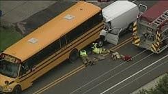 Van slams into school bus in Kenosha County; driver killed