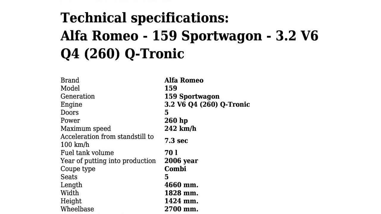 Alfa Romeo 159 Sportwagon 3 2 V6 Q4 260 Q Tronic Technical