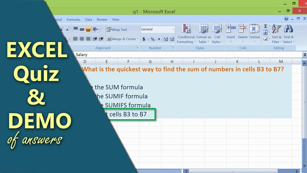 Excel Quiz and Demo   Excel Questions   Basic Excel Test