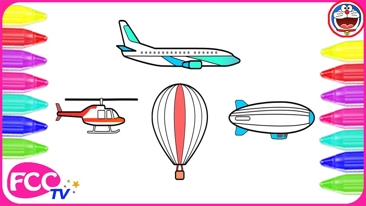 How to Color  Learn to Draw Air Transportation Vehicles Hot Air