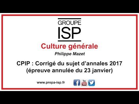 CPIP - Culture générale : Corrigé annales (23 janvier 2018 / épreuve annulée)