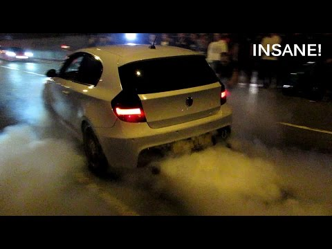 BMW 1 Series w. 640d Engine and Akropovic Exhausts - MAD Burnouts!