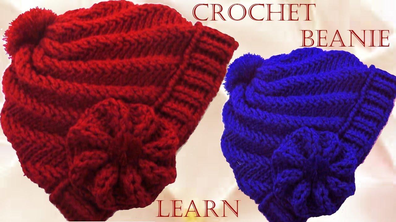 Como tejer gorro Boina a Crochet o Ganchillo en punto remolino en relieve 94f30c20fc5