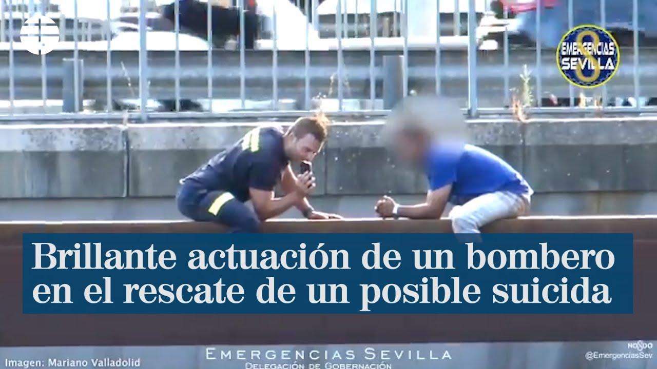 Brillante actuación de un bombero en el rescate de un posible suicida