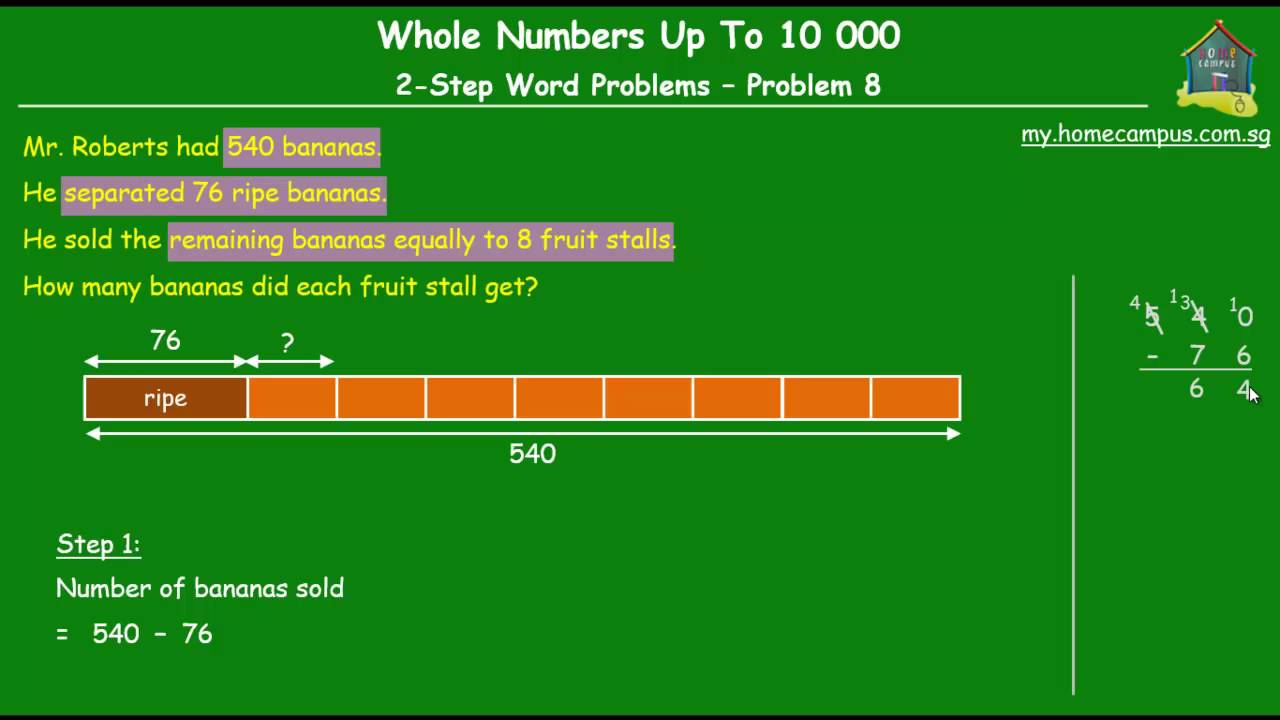 Elementary Singapore Math, Grade 3: Whole Numbers, 2-Step Word ...