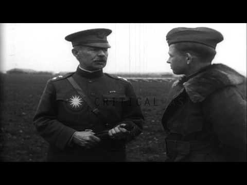 Generals Patrick and Mitchell present Distinguished Service Crosses to fliers of ...HD Stock Footage