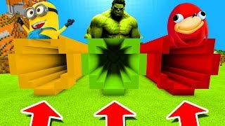 Minecraft PE : DO NOT CHOOSE THE WRONG TUNNEL! (Minion, Hulk & Uganda Knuckles)