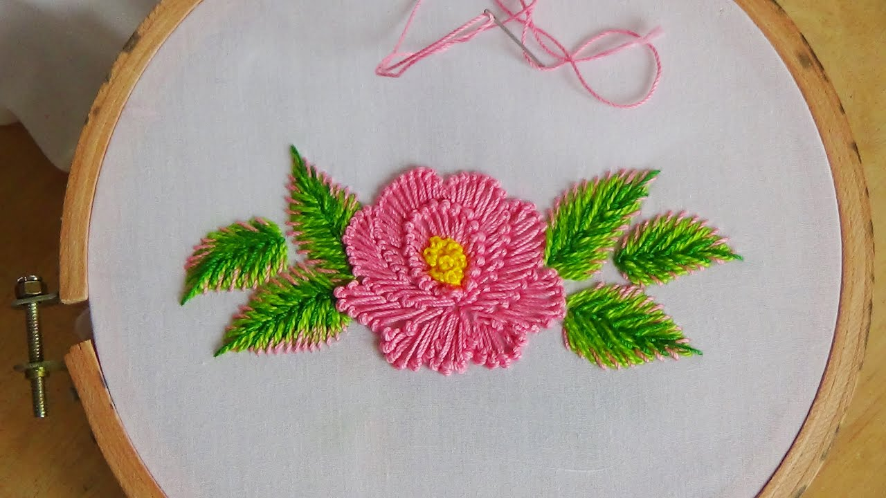 Hand embroidery flower stitch youtube jeuxipadfo Choice Image