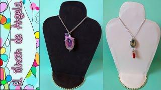 DIY Como hacer un expositor de collares muy facil. Exhibidor de collares, Porta collares, Necklace d