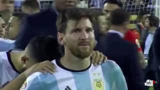 Messi cries. Copa America final