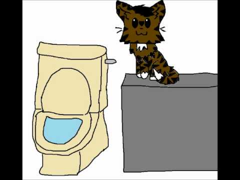 He's a cat flushing a toilet