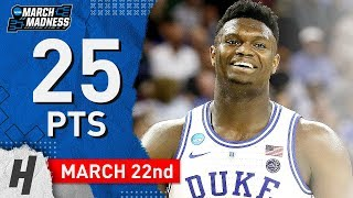Zion Williamson BEAST Full Highlights Duke vs North Dakota State 2019.03.22 - 25 Pts, CRAZY DUNKS!