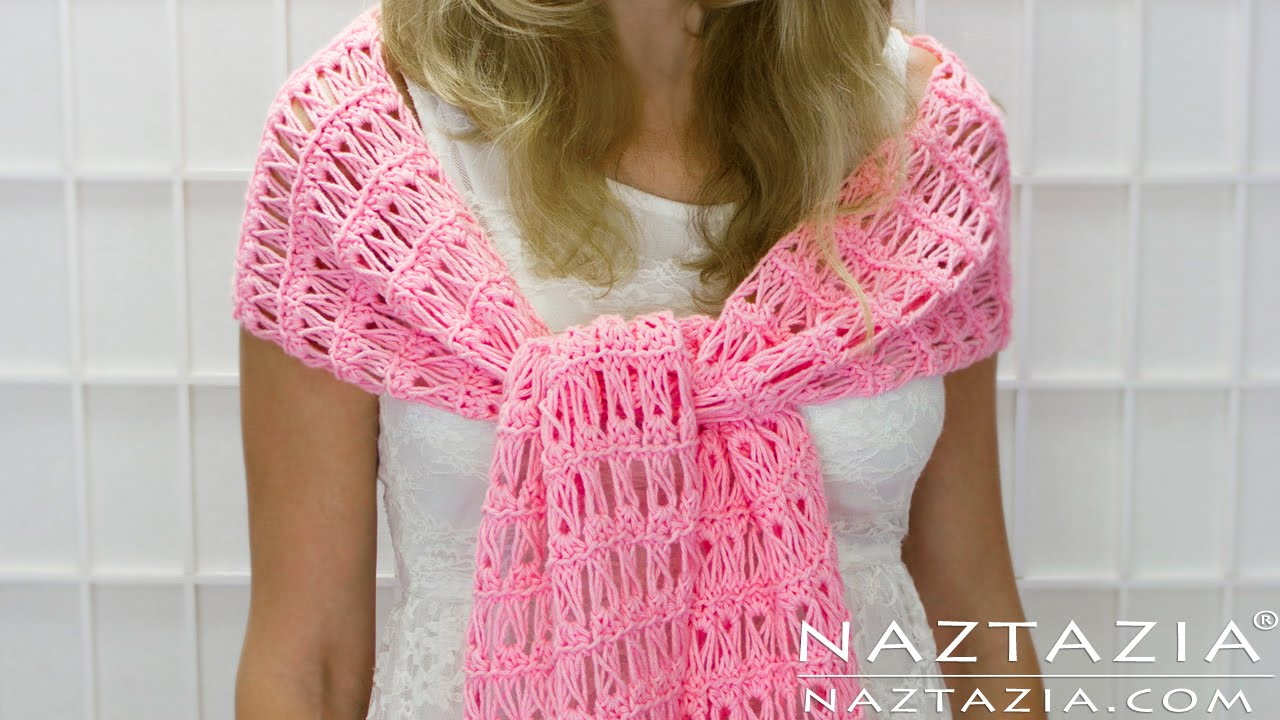 DIY Tutorial - How to Crochet Broomstick Lace Shawl Scarf ...