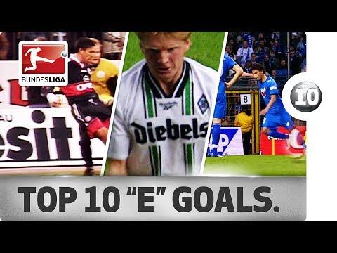 """Top 10 Goals - Players With """"E"""" - Eduardo, Emerson, Effenberg & More"""