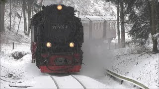 Brockenbahn im Schneesturm am 9.Januar 2019