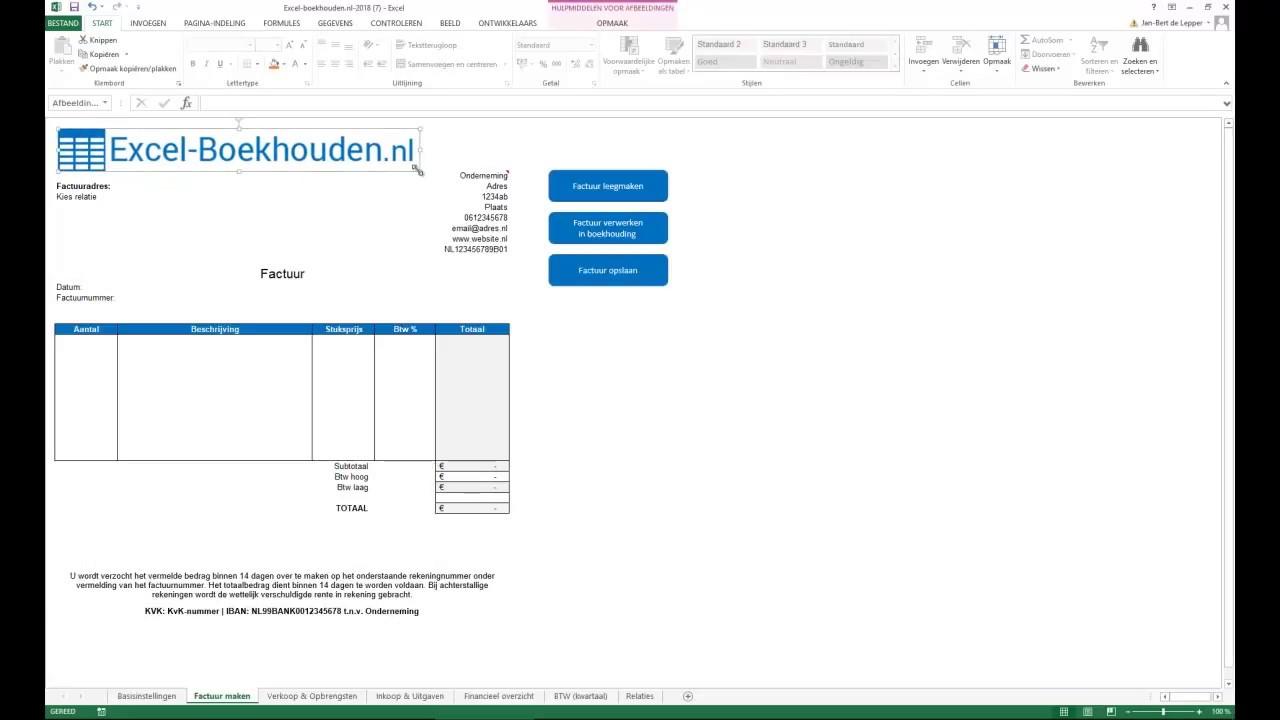 Factuur Maken In Excel In 3 Minuten Gratis Sheet