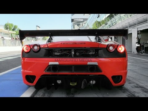 Twin Turbo Ferrari F430 Race Car Testing On Track - Start Up & Fly Bys