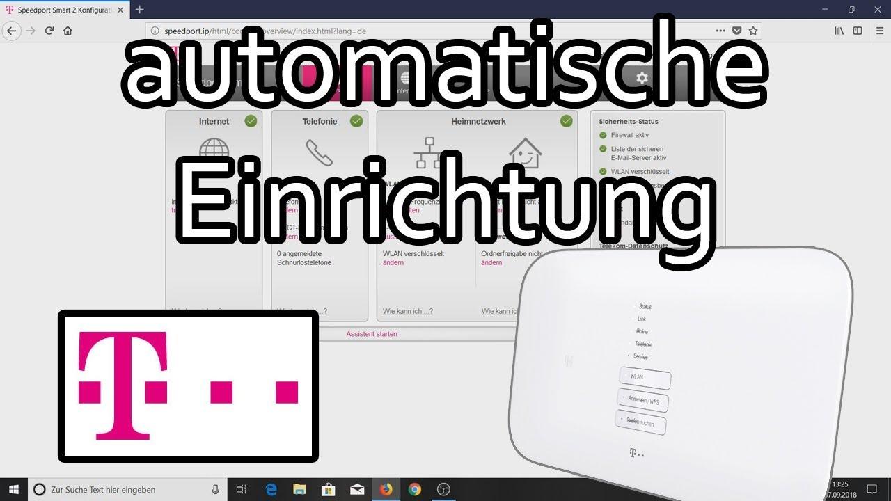 Telekom Speedport Die Automatische Einrichtung Speedport Smart 2 Youtube