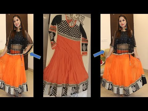 Reuse and Convert Anarkali Suit to Lehenga & Cape || Navratri Look 2018 || Sarita Malik