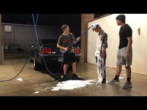 Car washing a hobo