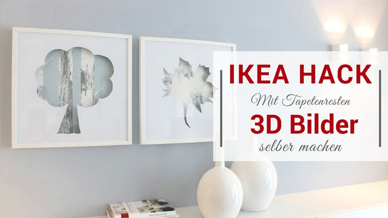 ikea hack ribba bilderrahmen 3 upcycling 3d bilder mit tapetenresten youtube. Black Bedroom Furniture Sets. Home Design Ideas