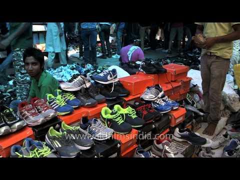 Sports shoes sold at Daryaganj Sunday market, Delhi