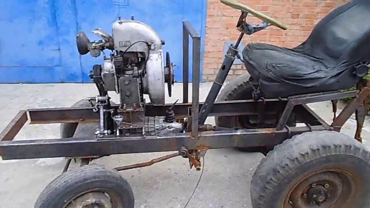 как сделать самодельный трактор.установка двигателя.