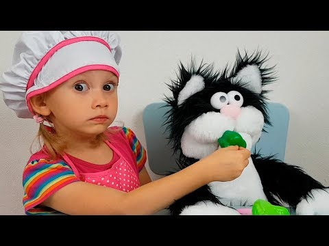 Alena Plays With Funny Toy Cat