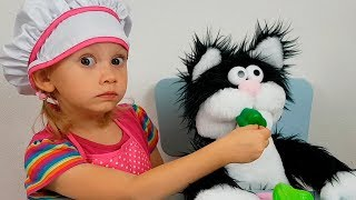 Alena plays with funny Toy Cat Kids pretend play by Chiko TV