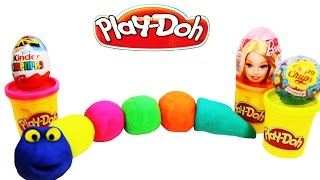 Play Doh Kinder Surprise Eggs Barbie Donald Duck Masha and the Bear Smurfs ✿◕ ‿ ◕✿