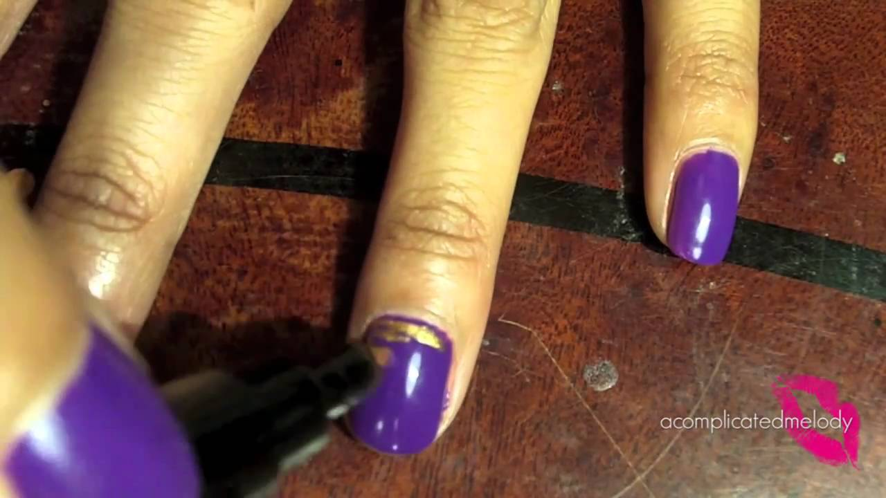Tutorial :: Purple & Gold LSU Tiger Nails - YouTube