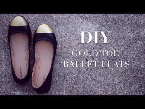 DIY Gold Cap Toe Ballet Flats