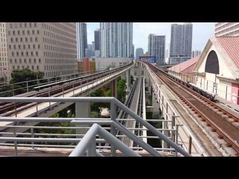 Miami Dade Transit: Metrorail action at Tri Rail and Government Center Stations