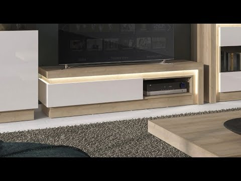 Lyon Modern 1 Drawer TV Cabinet Unit With LED Lights In Riviera Oak & White High Gloss