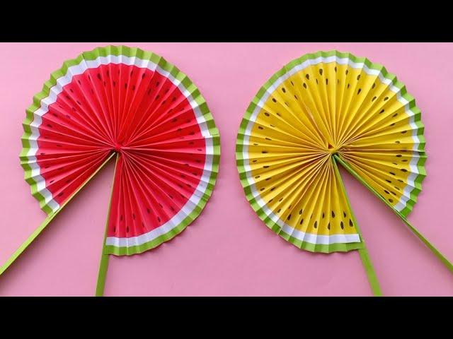 Cute Paper Pop Up Fans /DIY Watermelon Hand Fans |making paper fan /how to make a japanese paper fan