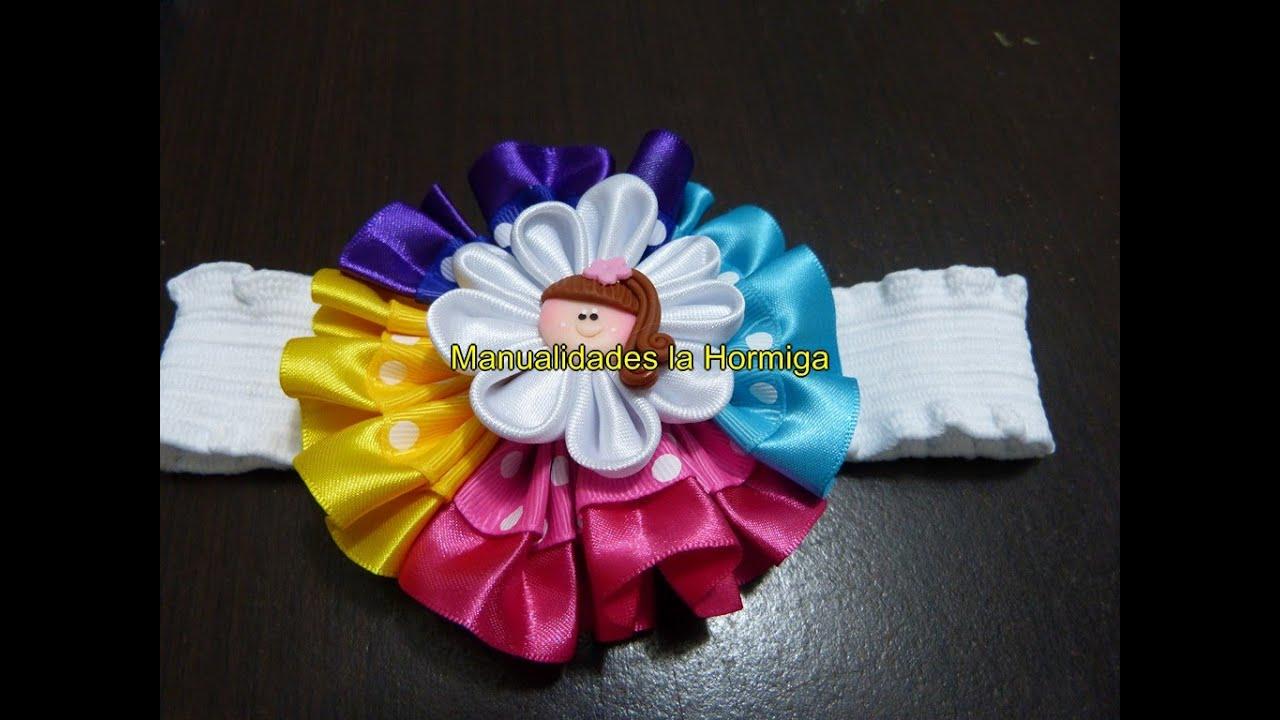 Hermosos mo os redondos flor kanzashi en cinta de raso y - Lazos grandes para decorar ...
