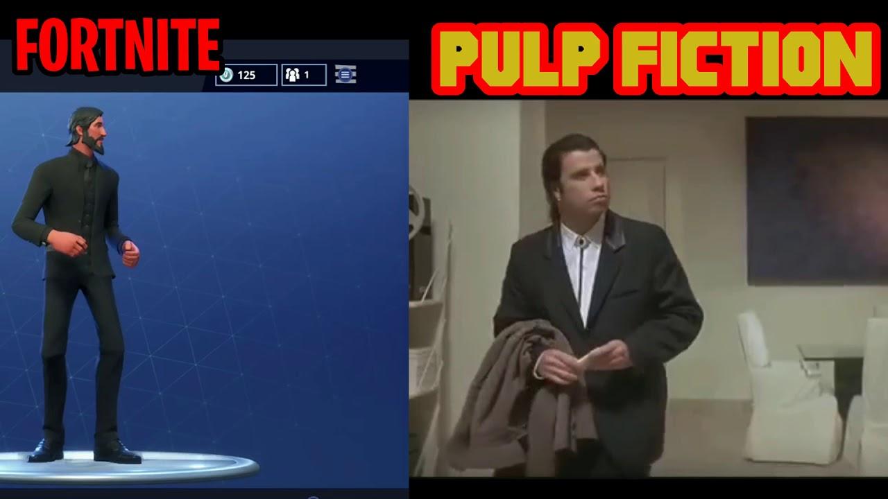 fortnite confused emote vs pulp fiction comparison - fortnite confused emote origin