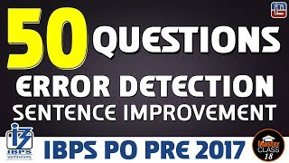Master Class | 50 Questions | Error Detection | English | Lecture 18 | IBPS PO 2017
