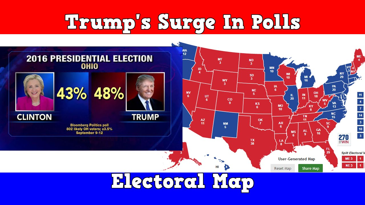 Electoral Map Trumps Surge In The Polls YouTube - Polls us elections 2016 map