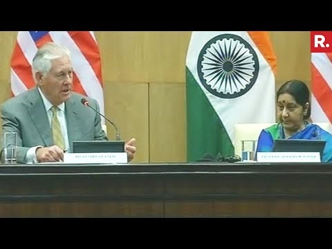 Rex Tillerson & Sushma Swaraj's Joint Attack On Pakistan | Full Press Conference