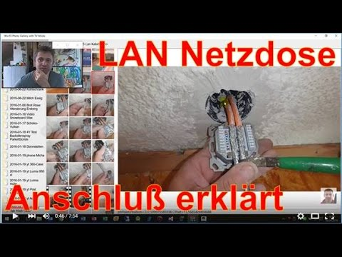 anschluss lan netzwerk dose unterputz im detail youtube. Black Bedroom Furniture Sets. Home Design Ideas