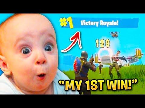Cutest Kids Getting Their 1ST FORTNITE WIN!