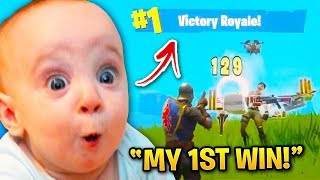 Cutest Kids Getting Their 1ST FORTNITE WIN!