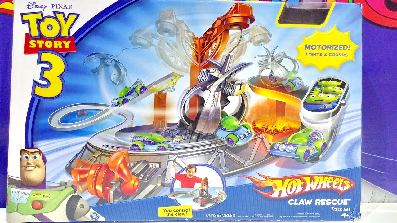 Toy Story 3 Hot Wheels Disney Pixar Claw Rescue Stunt Track Set With Car - YouTube