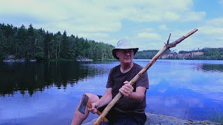 Wildcraft on a day hiking picking blueberries and chanterelles, crafting a walking stick, ASMR