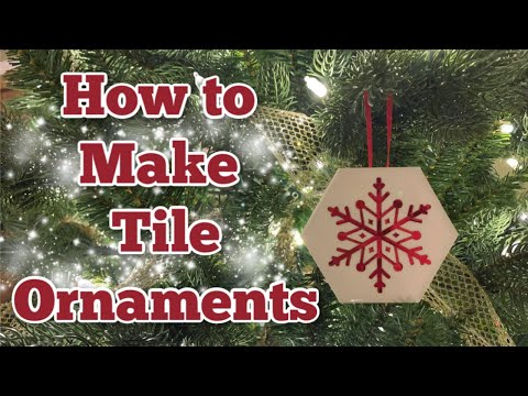 How to Make DIY Tile Ornaments with Vinyl and Alcohol Ink | Cricut Christmas Craft