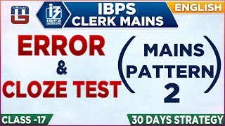 Error | Cloze Test | New Pattern | IBPS Clerk Mains 2018-19 | English | 1:00 PM