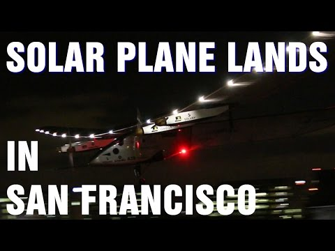 Bertrand Piccard Lands Solar Impulse 2 Plane in Mountain View California
